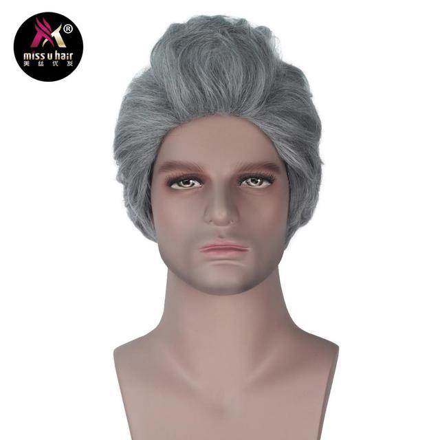 Miss U Hair peluca fiesta de Halloween para hombre, pelo sintético, gris, ondulado