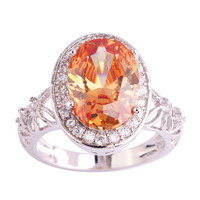 lingmei Wholesale New Noble Jewelry Oval Cut Morganite & White Topaz 925 Silver Ring Size 6 7  8 9 10 11 Fashion Style For Women