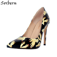 Sorbern Finger Women Pumps Pointed Toe Women Fetish High Heel Shoes Fashion 2018 Shoes Woman Stilettos Slip On Dress Shoes Diy