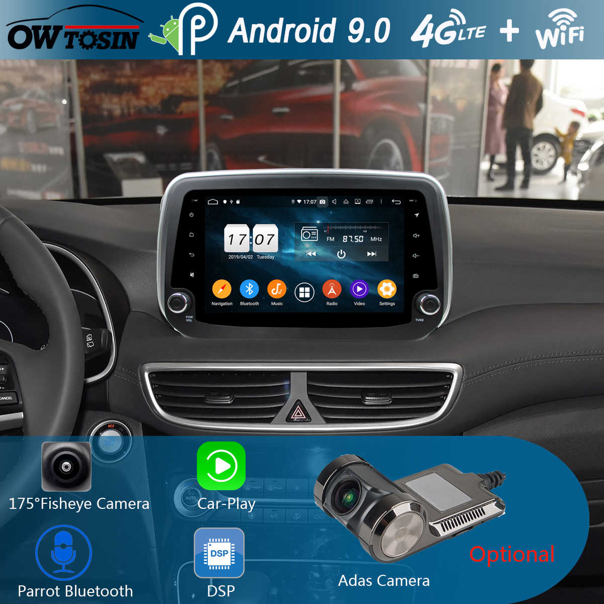 "9 ""IPS 8 Core 4 GB + 64 GB Android 9.0 Auto Multimedia Voor Hyundai Tucson IX35 2018 2019 radio GPS Navigatie DSP CarPlay Papegaai BT"