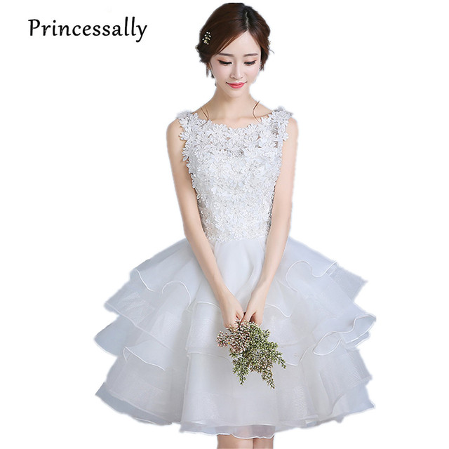 e2fecb0b2 Branco curto Vestidos de Casamento vestido de Bola Na Altura Do Joelho  Vestido de Festa Com