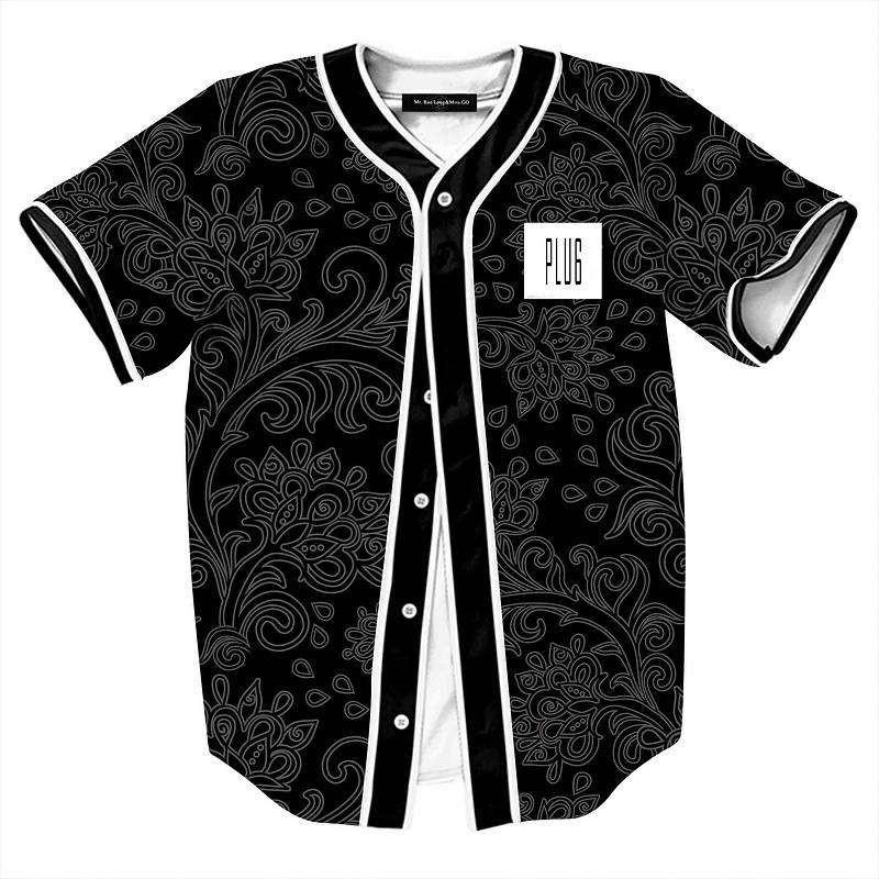 Summer Fashion Black Shirts for Men Retro China Flowers Print Baseball Shirt Male Casual V-Neck Camisetas Masculinas Estampas (1)