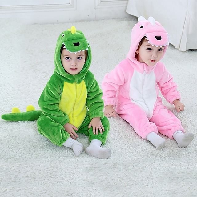 f03b819bc Baby Dinosaur Rompers New Born Girl Flannel Animal Costume Hooded ...