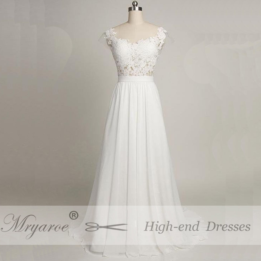 Mryarce Sexy Backless Beach Wedding Dress With Cap Sleeves Sheer Bodice Lace  Chiffon A Line Bridal ... b3e2ae3372ae