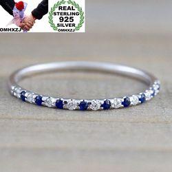OMHXZJ Toptan Avrupa Moda Kadın Kız Parti Düğün Hediyesi Gümüş Beyaz Mavi Kırmızı AAA Zirkon 925 Ayar Gümüş Yüzük RR72