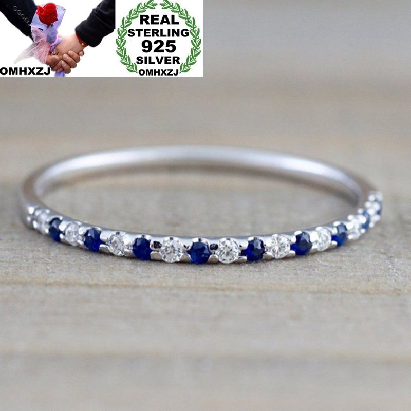 OMHXZJ Wholesale European Fashion Woman Girl Party Wedding Gift Silver White Blue Red AAA Zircon 925 Sterling Silver Ring RR72