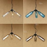 American Style Creative Glass Wine Bottle Chandelier Loft Industrial Style Bar Coffee Shop Retro Water Pipes