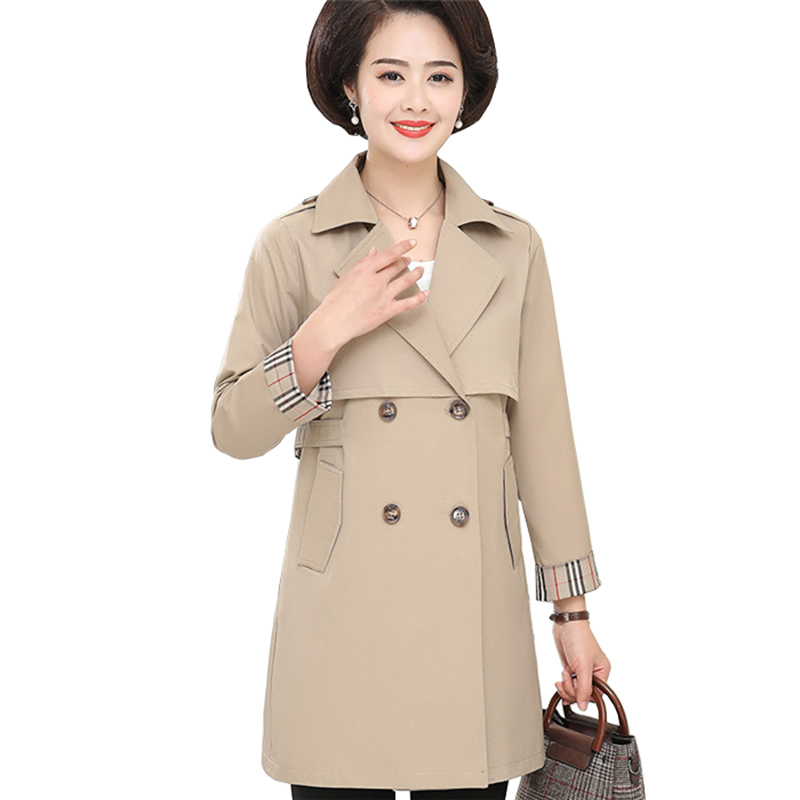 Fashion Plus size 5XL   Trench   Coat Middle aged Women Thin Windbreaker Spring Autumn Casual Tops Double-breasted Basic Coats A2867