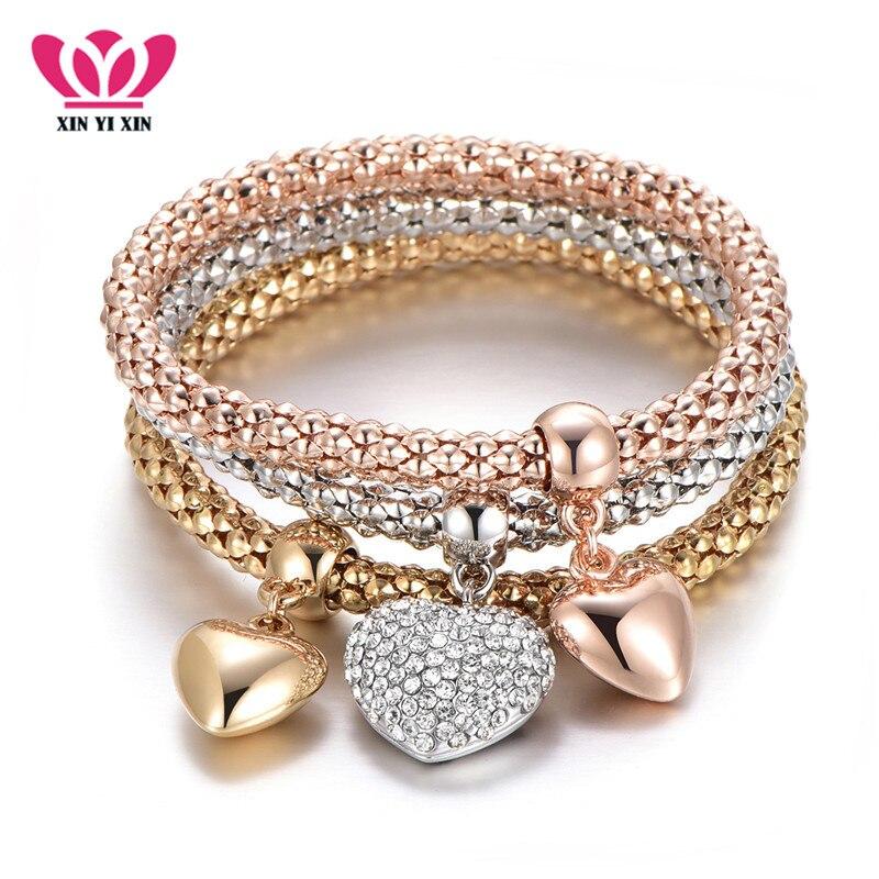 3 Pcs/Set Crystal Heart Charm Bracelets & Bangles Rose Gold Silver Popcorn Chain Love Heart Rhinestone Pendants Bracelet Women