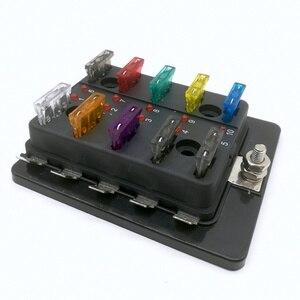 Image 4 - 10 Way Circuit Blade Fuse Box Block Holder Met LED Waarschuwing Licht Kit Voor Auto Van Boot Marine Auto Zekering houder