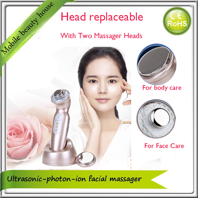 With Two Massager Head Replaceable Ultrasonic Galvanic Led Photon Therapy Skin Rejuvenation Body And Face Beauty Device anti acne pigment removal photon led light therapy facial beauty salon skin care treatment massager machine