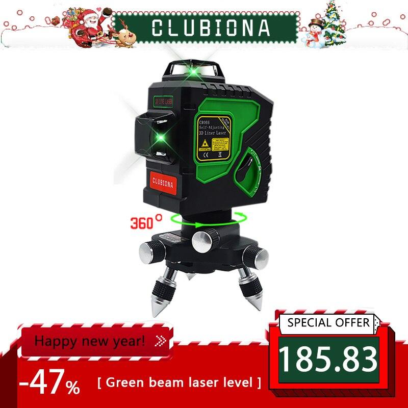 Modulo auto-Livellamento Professionale Orizzontale E Verticale Croce Super Potente Laser verde Linea di Fascio di 3D 12 Laser a Livello di linea 360