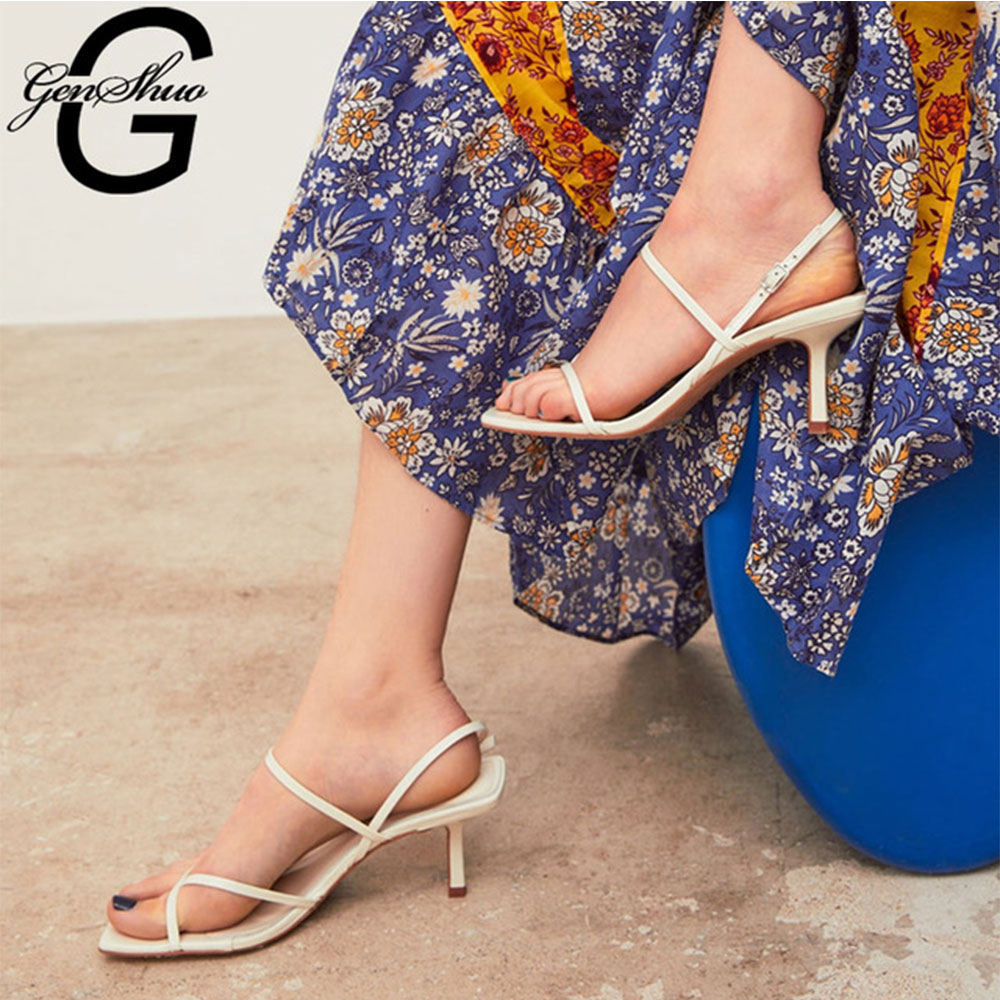 GENSHUO Vintage Square Toe Sandals Summer White High Heels Sandals Concise Narrow Band Ladies Shoes For Party Roman Shoes Woman