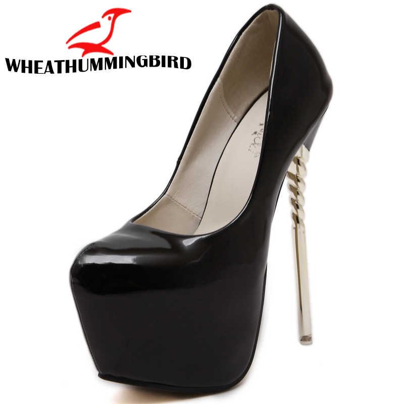 ผู้หญิงเซ็กซี่กระชับ Super ส้นสูงบาง 16 ซม.แพลทฟอร์ม 7 ซม.รองเท้ารอบ Toe ปั๊มงานแต่งงานรองเท้าหนัง zapatos ME-95