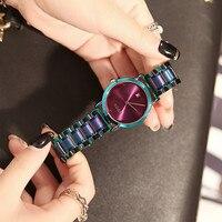 HK Marca Senhoras Relógios de Quartzo Resistente À Água Mulheres Moda Relógios Ultra-Fino Ouro Rosa Calendário de Aço Inoxidável Relógios Vestido