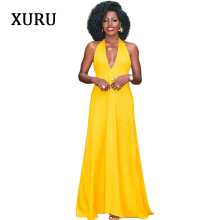XURU Summer New Womens Dress Fashion Deep V-neck Sexy Halter Yellow