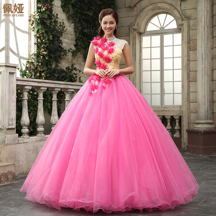 hot font b pink b font flowers beading stand collar Medieval font b dress b font