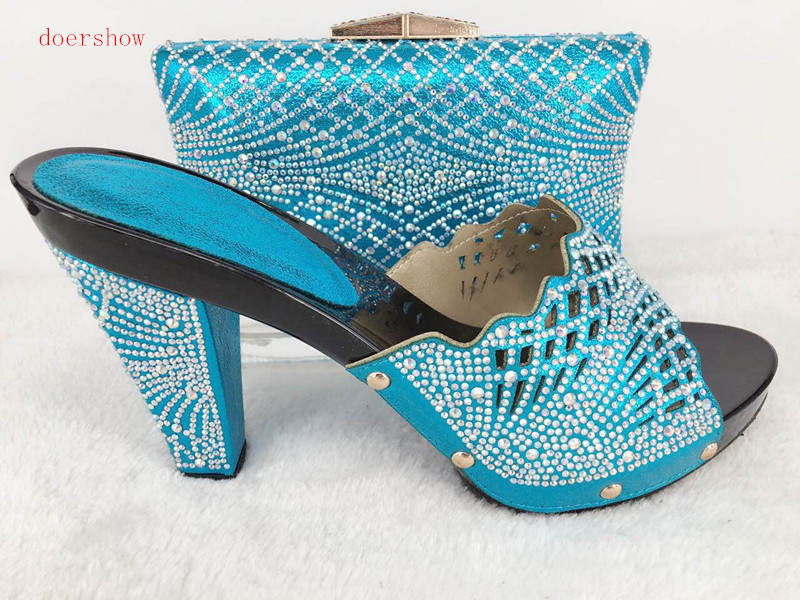 doershow Latest Coming Elegant Italian Shoes and Bag Set Matching Fashion Dress Shoes And Bags In sky Blue Color Hlu1-27 blue sky чаша северный олень