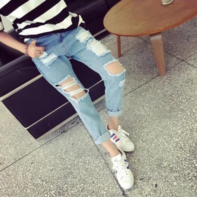 d2cc59aad5 Moda Mujer Vaqueros Marca Vintage de Cintura Alta Vaqueros Ajustados Denim  Slim Jeans Rotos Lápiz Agujero