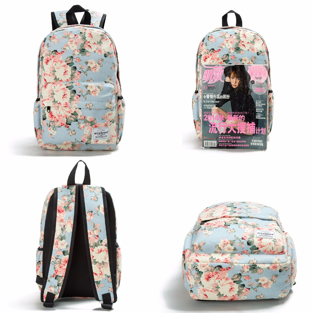 Image 3 - Miyahouse Classic Floral Printed Travel Backpack For Women Canvas