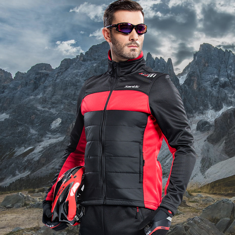 Santic Men Winter Fleece Cycling Jacket Thermal Windproof Rain Jacket MTB Road Bike Jacket Chaqueta Ciclismo Suitable For 0-8C