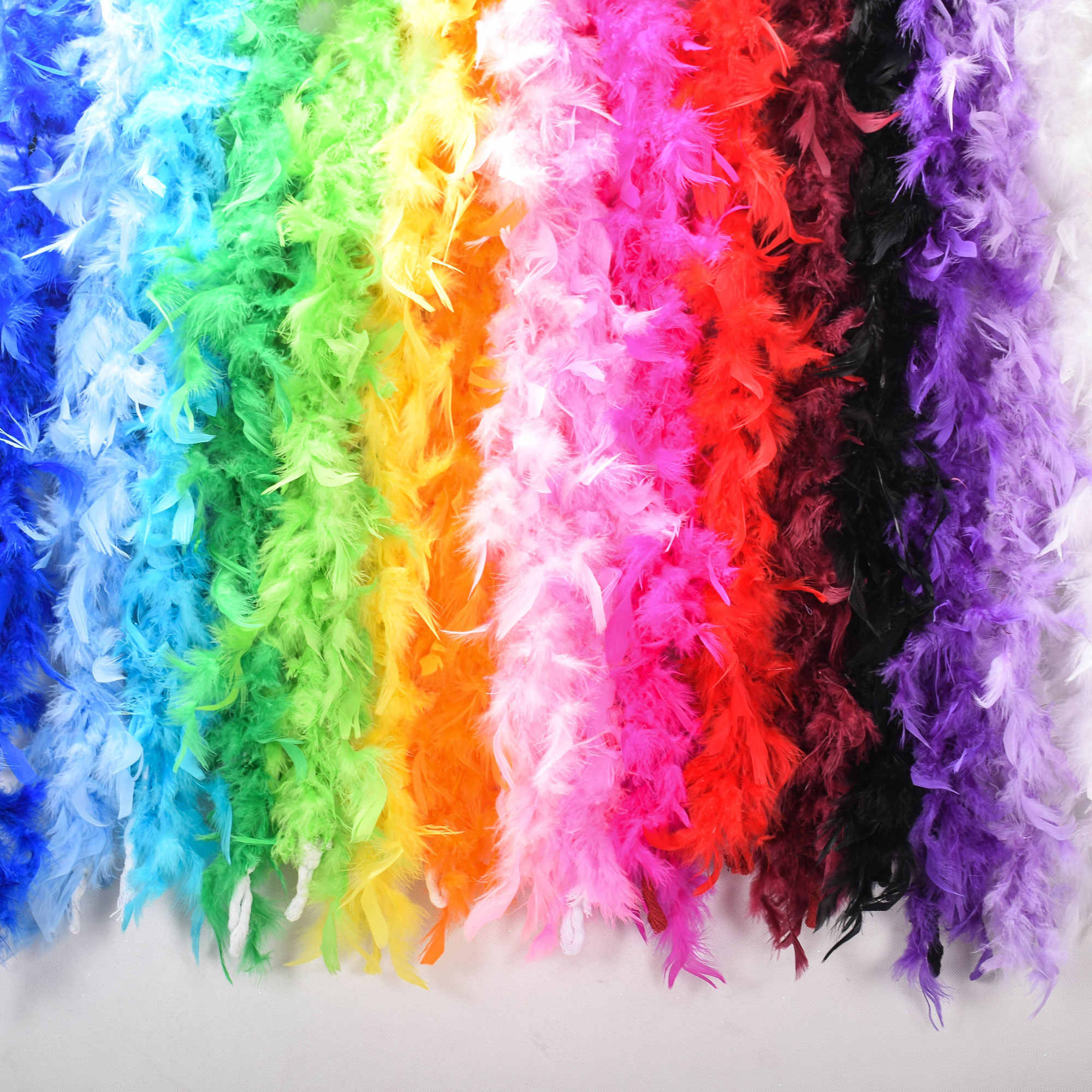 1PC Multi-Color Fluffy Handcraft Ostrich Feather Plume Boas Scarf Clothes for Wedding Decoration Performance Dance Supplies P0.2