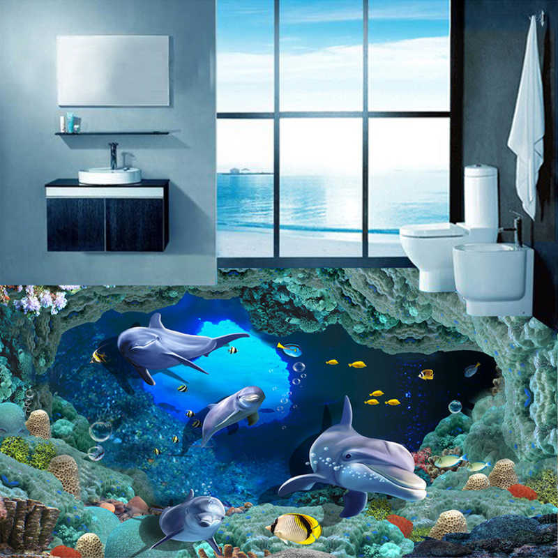 Custom 3D Flooring Photo Wallpaper Dolphin Undersea Cave Stereo PVC Self-adhesive Mural Vinyl Floor Decor Wallpaper Waterproof