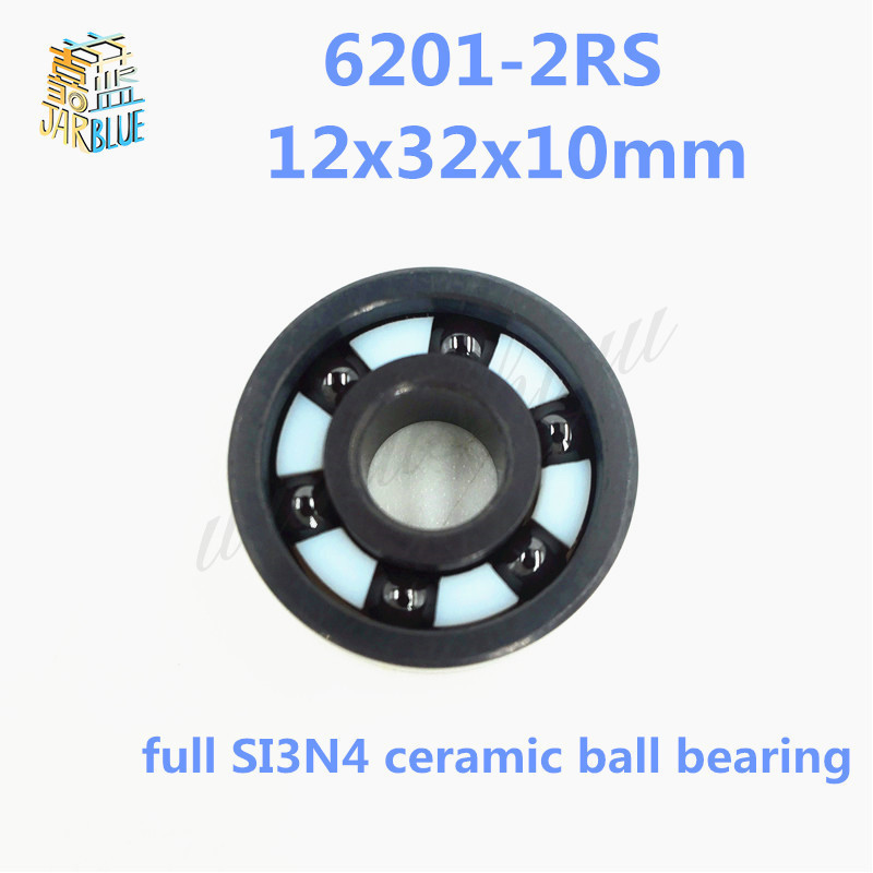 Free shipping 6201-2RS full SI3N4 ceramic deep groove ball bearing 12x32x10mm 6201 2RS P5 ABEC5 5pcs 6201 2rs 6201rs 6201rs 6201 rs deep groove ball bearings 12 x 32 x 10mm free shipping high quality
