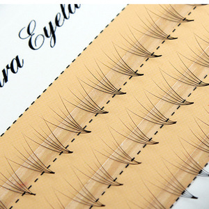 Image 2 - 0.07 C Curl Faux Mink Eyelashes 5D Pre made Lashes Fans Natural Long Individual Eyelash Extensions