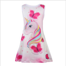 Summer Girls Dresses unicorn Pegasus pattern Princess Party Dress For Girls  gift Vestidos Butterfly Printing Baby Girl Clothes c187adcf0b66
