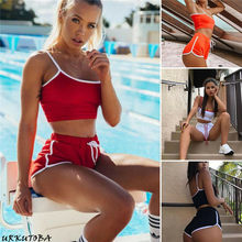 HIRIGIN Newest Womens Active Bra Tops Shorts Hot Lady Lounge Wear Tracksuit 2 Pcs Clothes Sets(China)
