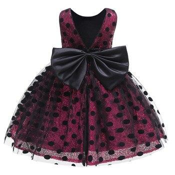 654fe1510 Vestido de bebé niña de encaje Bowknot cumpleaños vestidos para niñas 1-5  año bebé elegante boda fiesta vestido de Bebé Ropa
