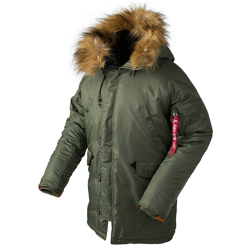2018 Winter N3B puffer jacket men long canada coat military fur hood warm trench camouflage tactical bomber army korean parka-in Parkas from Men's Clothing    1