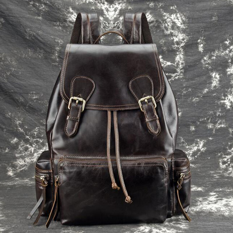 Vintage Unisex Rucksack High Quality  Daypack Large Capacity Book Bag  Knapsack Oil Wax Cowhide Backpack Travel Leather BagVintage Unisex Rucksack High Quality  Daypack Large Capacity Book Bag  Knapsack Oil Wax Cowhide Backpack Travel Leather Bag