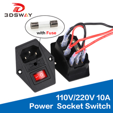 3DSWAY 3D Printer Parts 110V/220V 10A Power Supply Socker Switch Tripod Feet with Fuse Short Circuit Protection 20cm Cable