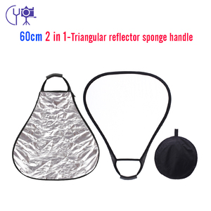 CY 60CM 2 in 1 Portable triangle Studio Photo reflector Collapsible Photographic Lighting Reflector+ handle bar Carrying Bag