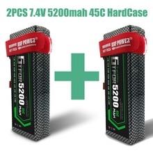 GTFDR RC автомобиль Lipo батарея 2 шт 7,4 V 5200mah 45C жесткий чехол Bateria Lipo для багги Truggy Evader BX TRX trx4 SCX10 RC SUV