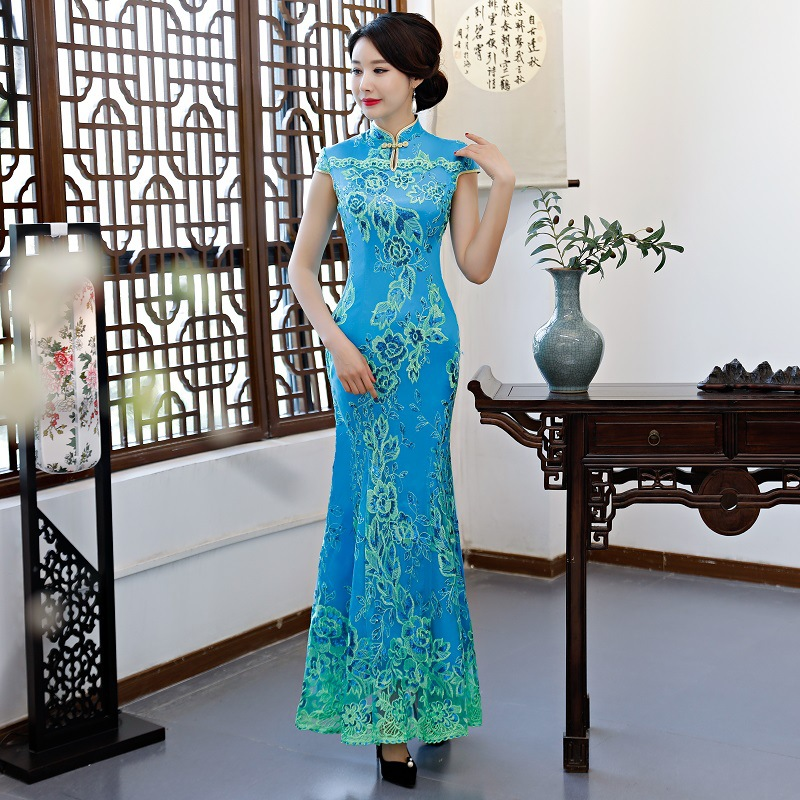 Green Vintage Chinese Style Wedding Dress Retro Long Gown