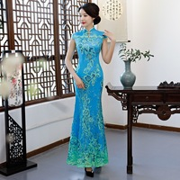 Green Vintage Chinese Style Wedding Dress Retro Long Gown Marriage Cheongsam Qipao Party Evening Dress Vestidos Clothe S 4XL