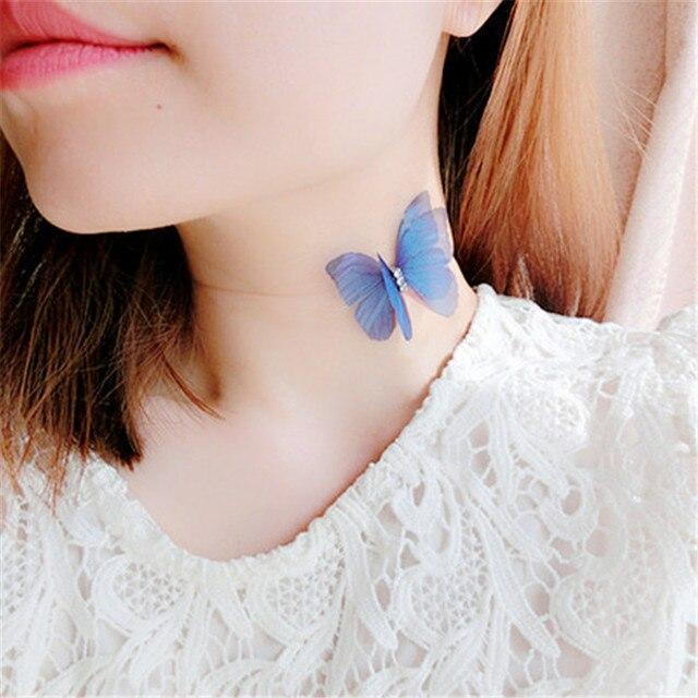 2017 Elegant Korean Design Doublelayer Yarn Butterfly Wings Necklace Women Invis