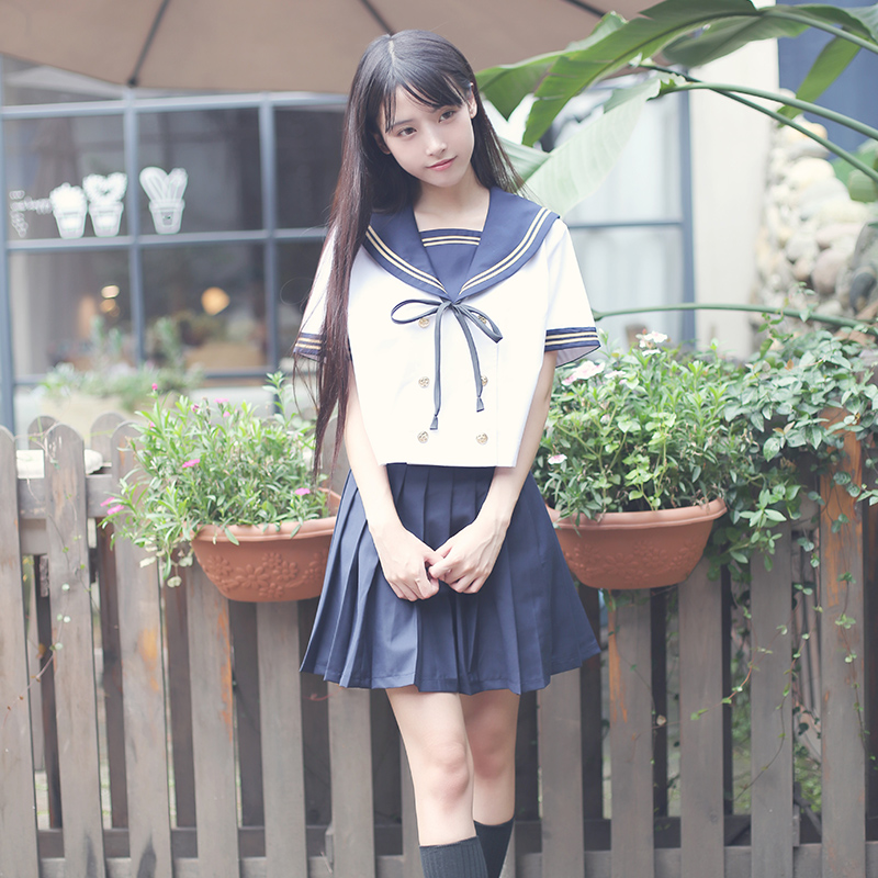 Hot sale Japanese/Korean Student Suit Cute Girls/Women Cosplay Sailor Suit School Uniforms Clothing Navy Top+Skirts