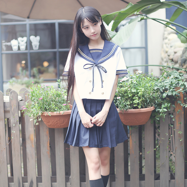 116c1f39647 US $30.63 36% OFF|Hot sale Japanese/Korean Student Suit Cute Girls/Women  Cosplay Sailor Suit School Uniforms Clothing Navy Top+Skirts-in School ...
