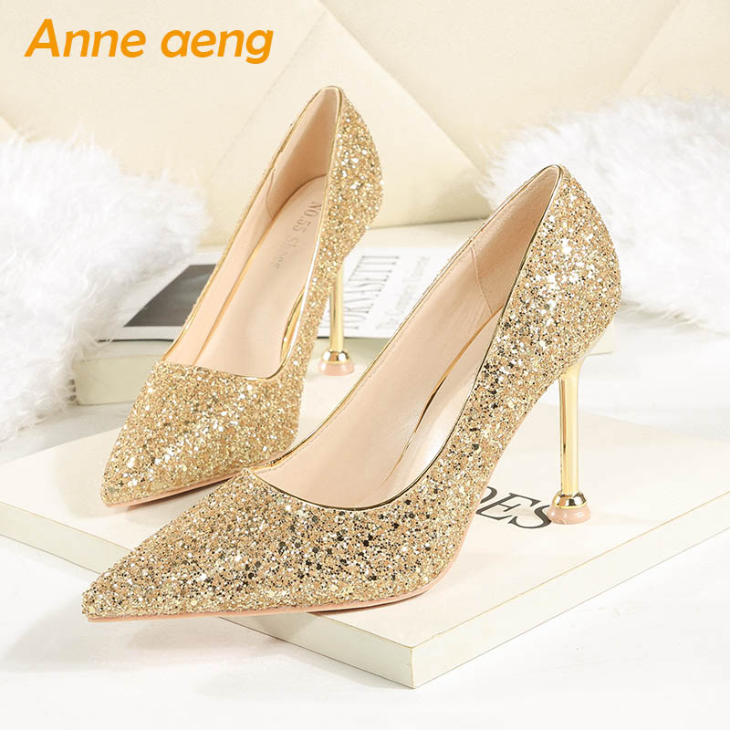2019 New Spring Women Pumps High Thin Heel Pointed Toe Sexy Ladies Bling Bridal Wedding Women Shoes Gold Female High Heels      2019 New Spring Women Pumps High Thin Heel Pointed Toe Sexy Ladies Bling Bridal Wedding Women Shoes Gold Female High Heels