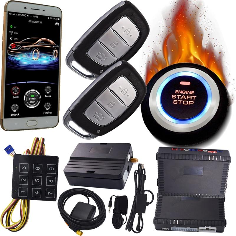 Bluetooth app di sblocco serratura di arresto di inizio del GPS GSM Del Telefono Delle Cellule Inizia Passivo Keyless Entry Spinta Pulsante di Avvio di Sicurezza di Allarme Auto