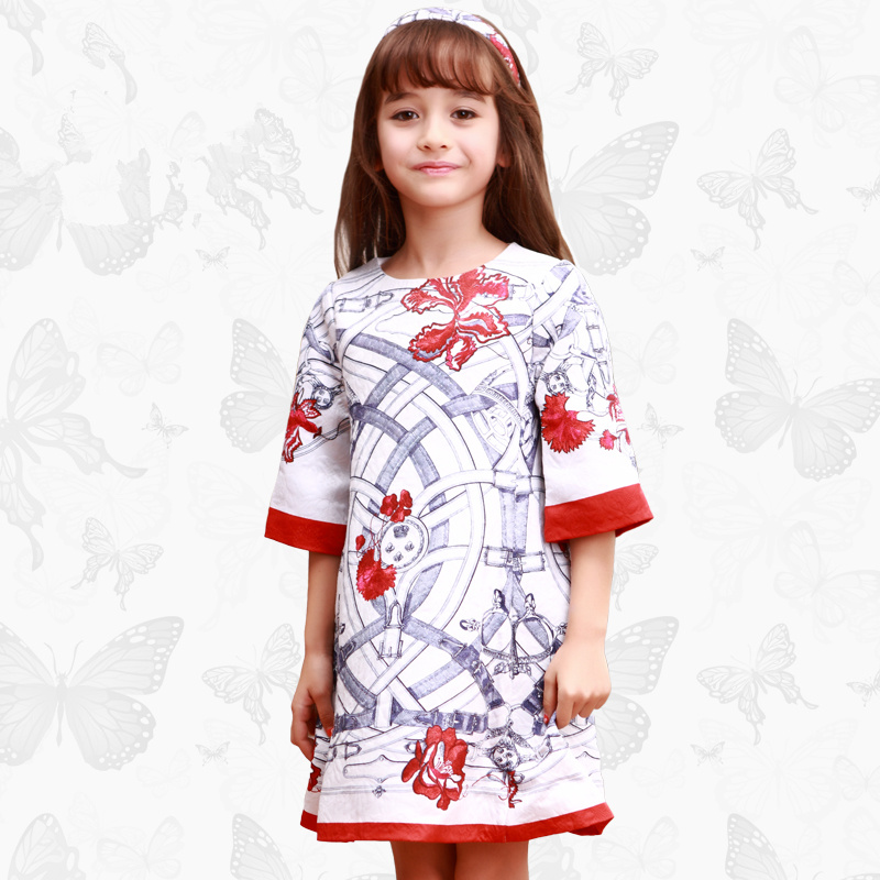 Toddler Girls Dresses Children Clothing 2017 Brand Princess Dress for Girls Clothes Fish Print Kids Beading Dress 1 28 endearing fish scale print spaghetti strap mini dress for women