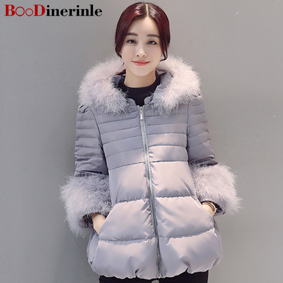 BOoDinerinle Winter Jacket Women Hooded Ostrich Hair Seven Sleeves Warm jaqueta feminina inverno parka mujer invierno 2017 MY009 hooded winter jacket women thick cotton padded parka down warm casaco feminino jaqueta feminina abrigos mujer invierno sy235