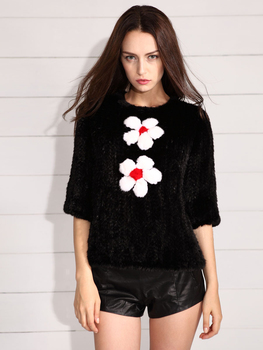 EMS FREE SHIPPING* 100%REAL EUROPEAN MINK FUR COAT WITH FLOWER , GENUINE MINK FUR KNITTED JACKET NATURAL FUR* NO.SU-14007 2