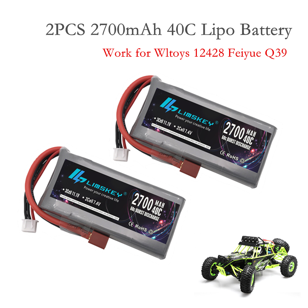 2PCS Limskey RC Lipo Battery 2s 7.4V 2700mAh 40C Max 60C For Wltoys 12428 12423 RC Car Feiyue 03 Q39 Upgrade Parts Battery