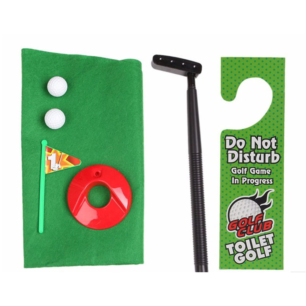 1 Set Golf Training Aids Bathroom Funny mini golf toilet Putting green Flag stick sign Do not disturb gifts for men Mens Toy