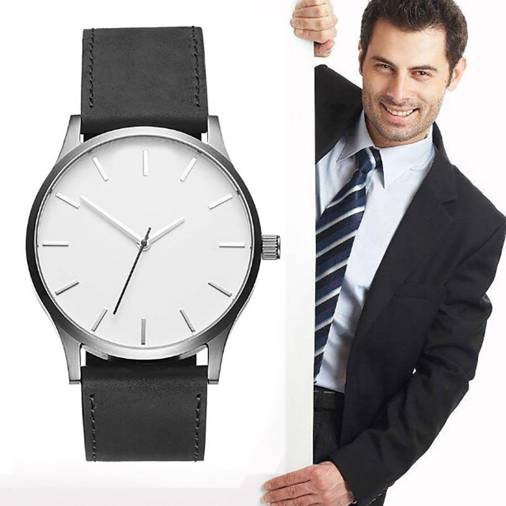 Men Watches Leather Sport Watches High Quality Clock Reloj Fashion Large Dial Military Quartz Wristwatch Relogio Masculino 2019